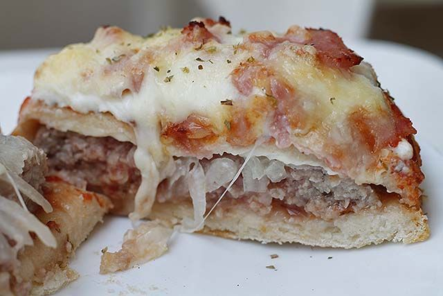 Hamburguesa pizza abierta